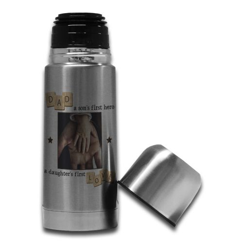 350ml Personalised Dad, A Son's First Hero, A Daughter's First Love Steel Thermos Flask Bottle